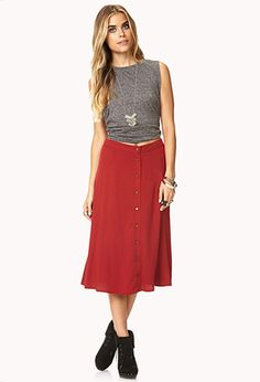 Buttoned A-Line Skirt | FOREVER 21 - 2037362329