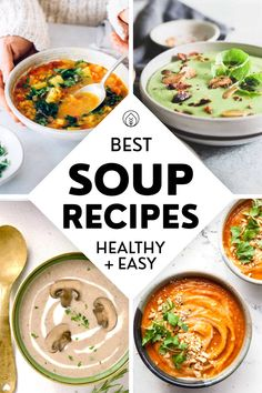 Our favorite plant-based soup recipes to make this fall and winter! Easy homemade beginner recipes for lentil soup, kale, cauliflower, tomato, mushroom, beet, pumpkin, broccoli, miso, veggie broth or vegan noodle soup. Featuring seasonal ingredients and mostly low calories, these delicious soup recipes are super healthy, budget-friendly, freezer and meal prep-friendly. Plus, they can be made in the Instant Pot, crockpot, slow cooker or on the stovetop! Lentil Soup Recipes, Best Soup Recipes, Vegetable Soup Recipes, Healthy Soup Recipes, Chili Recipes, Clean Eating Recipes, Lunch Recipes, Vegan Noodle Soup, Vegetarian Soup