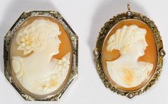 Lot 608: 10k White and Yellow Gold Framed Carved Shell Cameo Pin / Pendant; Two pieces; smaller piece having a swing up pendant loop and frame adorned with seed pearls