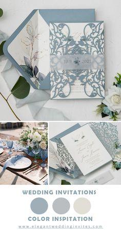Popular dusty blue and cream wedding invitation to suite your weding color themen #ewi #weddinginvitations