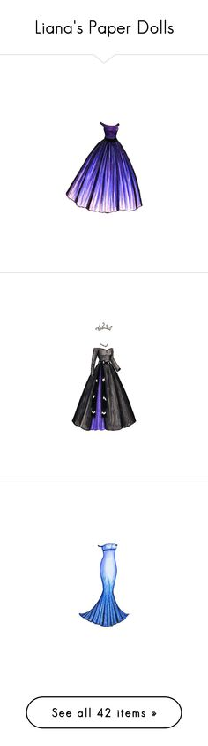 """""""Liana's Paper Dolls"""" by permanentlei ❤ liked on Polyvore featuring dresses, paper dolls, gowns, purple, filler, paper doll, drawings, backgrounds, vestidos and paper doll dresses"""