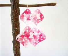 Pattern for long earrings made from 2 different granny squares         Materials Needed:  *1 pair ear wi...
