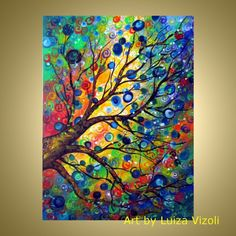 tree different seasons art for sale | Vibrant Modern Colorful Tree Art for Sale & Original Fantasy tree ...