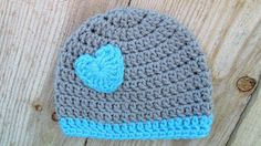 Baby Girl Hat Grey and Turquoise Baby Hat by TheFlyButterFactory