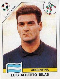 Luis Islas of Argentina. 1990 World Cup Finals card. World Football, Football Soccer, America Album, Football Stickers, National Football Teams, World Cup Final, Fifa World Cup, Baseball Cards, Finals
