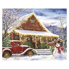 Shop Vintage Rustic Winter Christmas Country Store Postcard created by tyraobryant. Personalize it with photos & text or purchase as is! Christmas Red Truck, Old Christmas, Old Fashioned Christmas, Christmas Scenes, Vintage Christmas Cards, Country Christmas, Christmas Pictures, All Things Christmas, Christmas Crafts