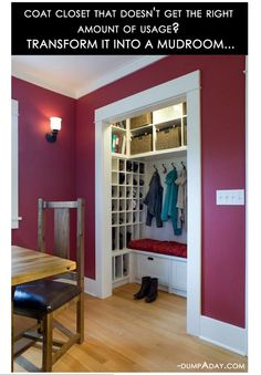 """Coat closet to mud room the """"L-shape"""" that is show is perfect for the foyer space! I love the grid storage for umbrellas or gloves and things!"""