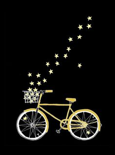 fab simple starlight and dreams illustration wouldnt it be wonderful if all of our travels were accompanied by a trail of stars instead of carbon emissions .bring me my magic bicycle now Bike Illustration, Happy New Year Cards, Bicycle Art, Bicycle Basket, Street Art, Painting, Graphic Design, Stars, Drawings
