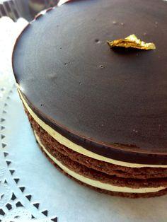 chocolate coffee opera cake - so elegant Opera Cake, Chocolate Coffee, Happy Birthday, Cakes, Elegant, Breakfast, Sweet, Desserts, Ideas