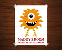 Monster Bedroom. Kids Monster Print. Monster by KryderPrints, $16.00