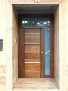 Christmas 2019 : Wooden doors in different styles Wooden Sliding Doors, Sliding Glass Door, Aluminium Front Door, Modern Wood Doors, Small Porch Decorating, Wood Door Frame, Pooja Room Door Design, Main Door, Unique Doors