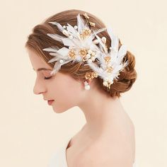 Feather Bridal Hair Piece Gold Bridal by goddessdesignsgems Bridal Comb, Bridal Hair, Hair Piece, Feather, Gold, Feathers, Fur, Bride Hairstyles, Bridal Hairstyles