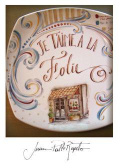 Boulangerie, je taime a la folie, porcelain, porcelana pintada a mano Juan Pablo Repetto