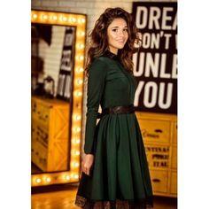 MalangFashion Green Plain Lace Collarless Round Neck Long Sleeve Midi Dress