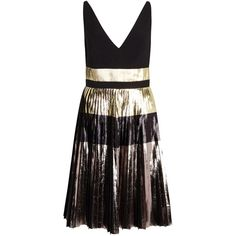 Proenza Schouler Foil-print Pleated Cloqué Dress (35.987.570 IDR) ❤ liked on Polyvore featuring dresses, black stripe dress, proenza schouler, striped dress, stripe dress and striped pleated dress