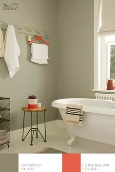 Great wall colour - Pale, muted greens make for a serene bathroom space. Try Overtly Olive on bathroom walls with splashes of bright red or coral to add a twist. Upstairs Bathrooms, Downstairs Bathroom, Bathroom Renos, Green Bathrooms, Bathroom Ideas, Bathroom Interior, Painted Bathrooms, Green Bathroom Paint, Bathrooms