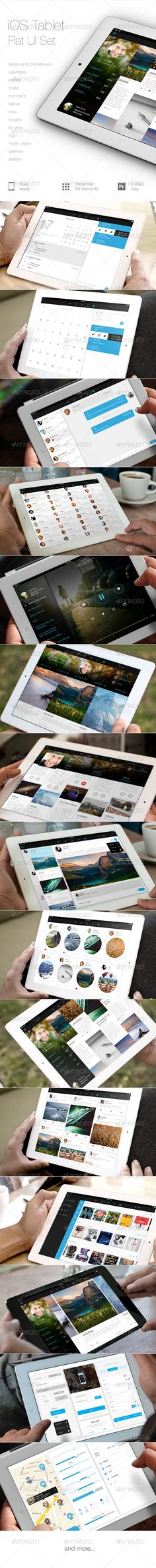 iOS Tablet Flat UI Set - User Interfaces Web Elements