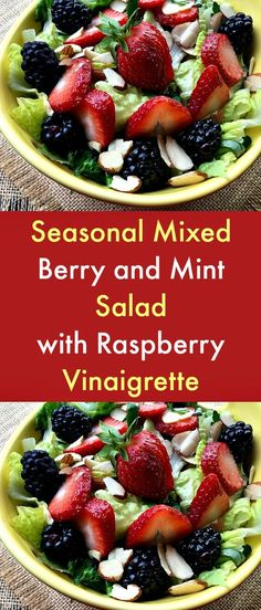 Seasonal Mixed Berry and Mint Salad with Raspberry Vinaigrette - From blackberries and raspberries to strawberries, fresh seasonal berries and mint give this vibrant salad a refreshing burst of flavor. Adding raspberries to the homemade vinaigrette lends some natural sweetness to this otherwise sugar-free dish.  #fruitsalads  #berries  #mint  #blackberries  #raspberries    #berrysalad  #strawberries Salad Dressing Recipes, Easy Salads, Healthy Salad Recipes, Healthy Foods To Eat, Summer Salads, Healthy Eating, Vegetable Side Dishes, Vegetable Recipes, Beef Recipes