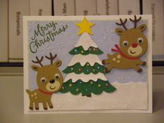 Christmas Card with Cricut - Reindeer and Christmas Tree Scrapbook Christmas Cards, Cricut Christmas Cards, Cricut Cards, Christmas Cards To Make, Kids Christmas, Handmade Christmas, Holiday Cards, Christmas Crafts, Christmas Picks