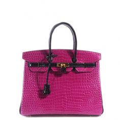 This is an authentic HERMES Shiny Porosus Crocodile BiColor Horseshoe Birkin 35 in Rose ScheherazadeAmethyst.   This breathtaking iconic Birkin is featured here in a custom designed ultra luxe Porosus crocodile in bright pink with contrasting deep purple crocodile trim found at the piping side gussets top handles and straps.  See More On http://sacredorchid.com/