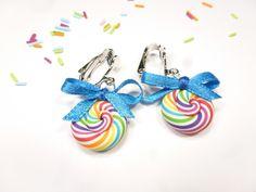 clips sucre d'orge en fimo multicolore boucles d'oreilles enfant sucette lollipop pâte polymère : Boucles d'oreille par kintcreations