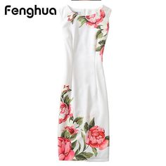 Fenghua Summer Dress For Women 2017 Sexy Slim Floral Vintage Ladies Office Dress Elegant Party Dresses Plus Size 4XL Vestidos