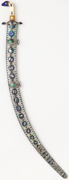 Indian shamshir, early 19th century, steel, ivory, enamel, gold, wood, silver, L. 38 3/4 in. (98.43 cm), Met Museum, Bequest of George C. Stone, 1935.