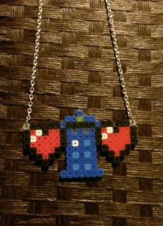Pixel Heart Necklaces TARDIS with 2 hearts or by InfernoCreations