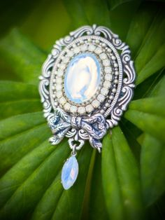 """Baroque Fantasy Moonstone Oxidized Silver Large Brooch """"Moonlight shadow"""" Victorian Estate Jewelry by VictorianJewelryBox on Etsy"""