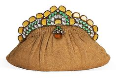 Vintage Hobe evening bag, beaded and jeweled in green and gold topaz.