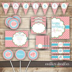 Pink Polka Dots Birthday PARTY PACKAGE / 1st Birthday / Girl's Party Kit - Printable