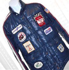 Vintage R.J. Reynolds NASCAR Racing Puffer Jacket Extra Patches Snap/Zip Size L #RJReynoldsbyBonnerKansasUSA #PufferJacketCoat