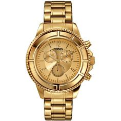 Versus by Versace Watch, Unisex Chronograph Tokyo Gold Ion-Plated... ($340) ❤ liked on Polyvore featuring jewelry, watches, accessories, bracelets, versace, gold chronograph watches, gold tone watches, logo watches, gold tone jewelry and quartz movement watches
