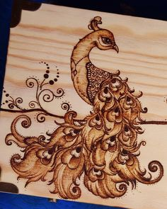 One of my best Pyrography attempt, Peacock. Wood Burning Stencils, Wood Burning Crafts, Wood Burning Patterns, Wood Burning Art, Stencil Wood, Pyrography Designs, Pyrography Patterns, Pyrography Ideas, Rustic Crafts
