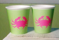 72 Color Choices  Crab Paper Party Cups  Set of by WhenIWasYourAge, $10.00