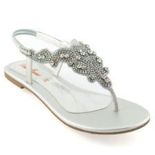 Superior Formal Flat Silver Sandals For Wedding | LADIES FLAT DIAMANTE TOE POST  WOMENS SPARKLEY DRESSY PARTY