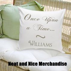 New - Personalized Once Upon a Time Fairytale Decorative Pillow - Wedding Gift