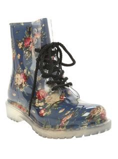Blue Floral Combat Boot | Hot Topic