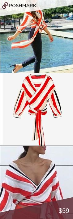 """🖤Zara Striped Crossover Blouse 🍃NWT, Zara crossover blouse-elegant and stylish in red, white, black and cream stripes. Bloggers favorite-sold out everywhere.🌱                                                         ▪️Shoulder to shoulder: 23"""".                                                 ▪️Pit to pit: 21.5"""".                                                                   ▪️Sleeve length: 15"""" Zara Tops Blouses"""