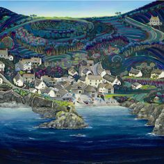 Looking Into Cadgwith Cove Gilly Johns. Seaside Art, Beach Art, Time Painting, House Painting, House Landscape, Landscape Art, Best Jigsaw, Homemade Art, Houses