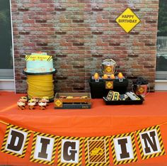 Boy's Construction BIrthday Party Dessert Table Ideas