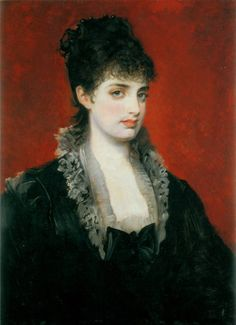 http://books0977.tumblr.com/  Anna von Waldberg (1883-1884). Hans Makart (Austrian, 1840-1884). Oil on wood. Carolino Augusteum, Salzburger Museum fur Kunst und Kulturge, Salzburg.   Makart's sensual and seductive portraits of upper-class females were his best. Anna von Waldberg is wearing a black bustle-era evening dress with its low-cut neckline. The design was not conservative but incorporates a black bow as a modesty piece hiding the lady's cleavage.