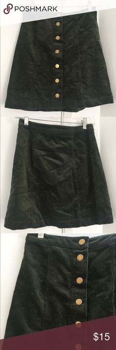 Olive corduroy button up skirt Completely new, never worn out (only wore to try on) Charlotte Russe Skirts Mini