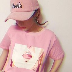 Anime Mouth Print Synthetic Pink Graphic Tee