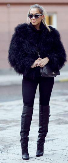 Black Faux Fur Jacket by Kenzas