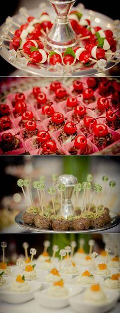 Cute finger foods ideas - I like the idea of individual fancy toothpicks.  A lot of prep work, but very cute!