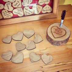 Wood pen stand for Guestbook. Heart Sign your name wedding guestbook