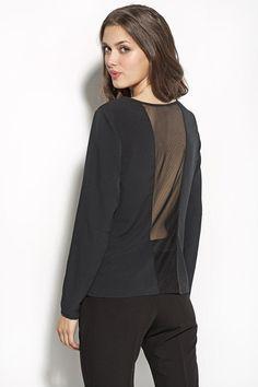 Blouse avec empiècement transparent au dos, noire (vue de dos).