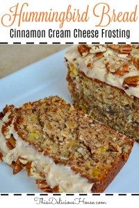Hummingbird Bread Cream Cheese Frosting Moist and delicious Hummingbird Bread is a simple take on the Hummingbird Cake recipe. Made with mashed bananas, pineapple, coconut, pecans, and cream cheese frosting. Loaf Cake, Bread Cake, Dessert Bread, Dessert Recipes, Fruit Bread, Hummingbird Bread Recipe, Hummingbird Food, Pineapple Bread, Crushed Pineapple
