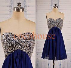 Royal dunkelblau Perlen Prom Kleider Chiffon von cocohouse auf Etsy